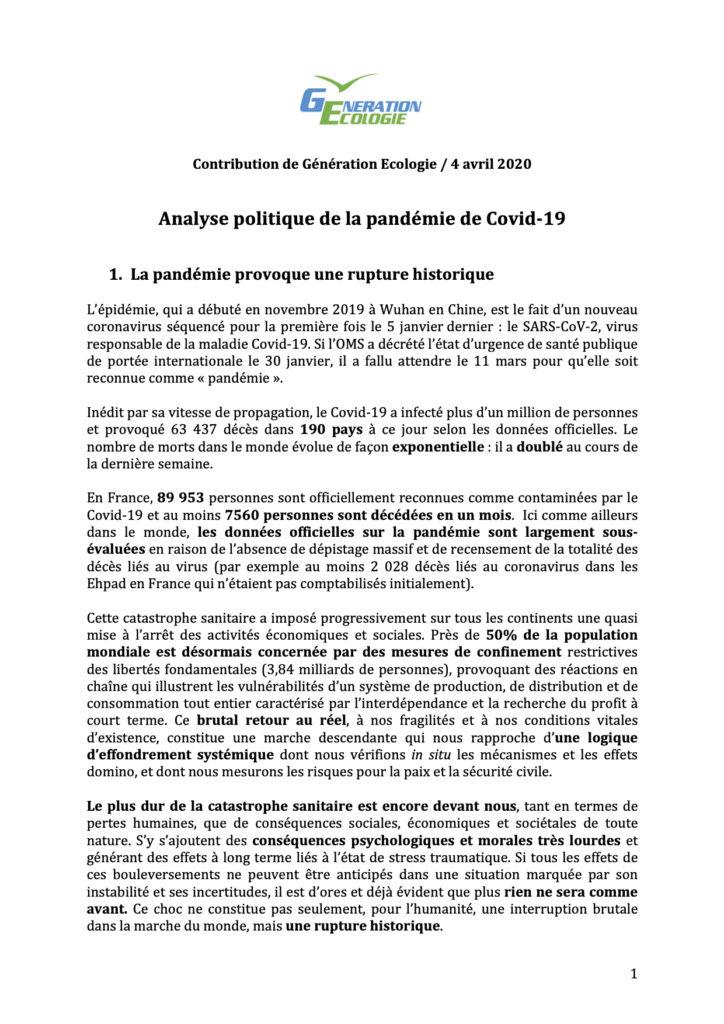 ANALYSE POLITIQUE DE LA PANDÉMIE DE COVID-19