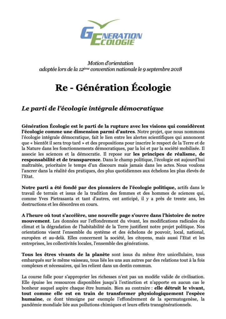 MOTION D'ORIENTATION DE GÉNÉRATION ÉCOLOGIE